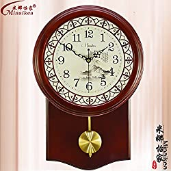 Living Room Antique Wall Clock Large Muted Fashion Modern Garden Wall Clock Solid Wood Table Clock,20 Inch,New F947-1 Café