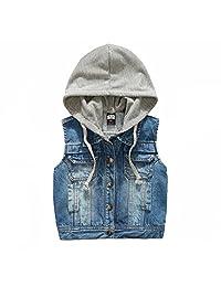 Kids Boys Hooded Denim Vest Zipper Hoodie Jean Jacket Tops Tank 3-10 Years