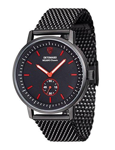 DETOMASO Men's Quartz Stainless Steel Casual Watch, Color:Black (Model: DT1072-H)