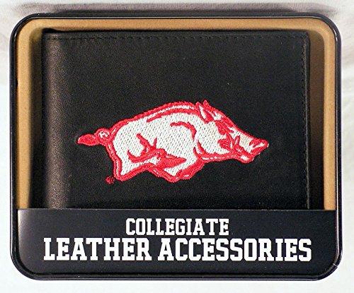 MLB Arkansas Razorbacks Embroidered Genuine Cowhide Leather Billfold Wallet Arkansas Razorbacks Embroidered Leather