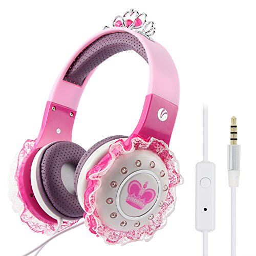 VCOM Kids Headphones, Over Ear Princess Headset for Girls Wired Children Earphones with Volume Limited & Microphone 3.5mm Jack Compatible for iPad Tablets Kindle Fire PC Laptops Smartphone MP3/4-Pink