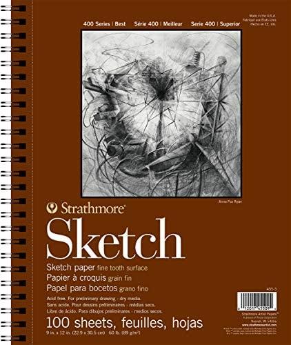 100 Pro-art 350900 Paper Strathmore Sketch Spiral Paper Pad 9-inch x 12-inch