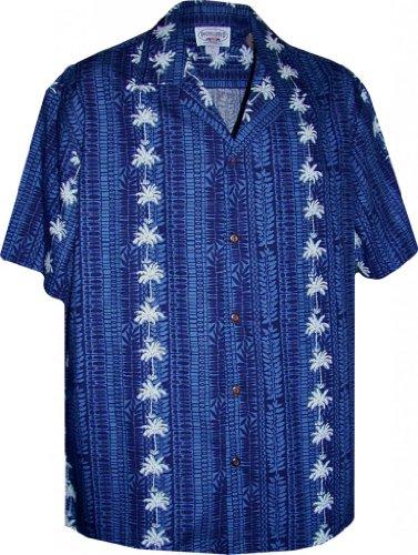 Hawaiian Aloha Shirt Palm Tree Lei Panels Navy (Made in Hawaii)
