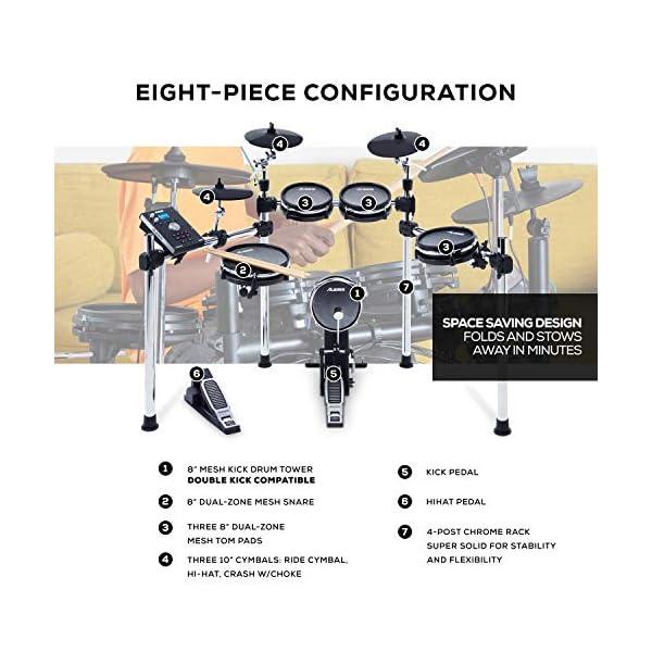 Alesis Command Mesh Kit + Strike Amp 8 ? Batteria Elettronica a 8 Pezzi con Pelli Mesh, 70 Kit, 600 Suoni e 60 Basi + Cassa Amplificata da 2000 Watt con Woofer da 8″