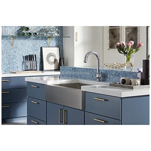Farmhouse Kitchen KOHLER K-5415-NA Strive Self-Trimming Farmhouse Undermount Large Single-Bowl Kitchen Sink with Tall Apron, 35 1/2 x 21 1… farmhouse kitchen sinks
