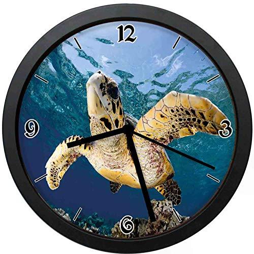 Akalidebaih Hawksbill Sea Turtle in Blue Lagoon of Ocean Eretmochelys Imbricata-Silent Quartz Movement Wall Clock,Beautiful Gift for Decorating Life -10inch