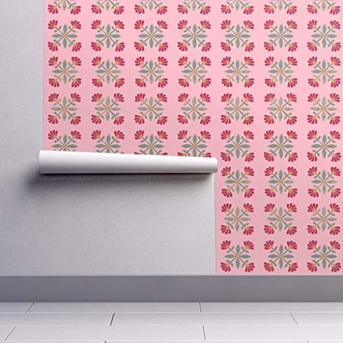 - Peel-and-Stick Removable Wallpaper - Mexican Tile Pink Red Green Mexican Tile Folk Art Floral Folk Art by Jenlats - 24in x 144in Woven Textured Peel-and-Stick Removable Wallpaper Roll