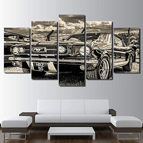 lmqzzc 5 Panels Canvas Framed Wall Art Modular Picture Home Decoration Living Room Giclee Canvas Print Painting On Canvas 1965 Ford Mustang-30X40Cmx2 30X60Cmx2 30X80Cmx1