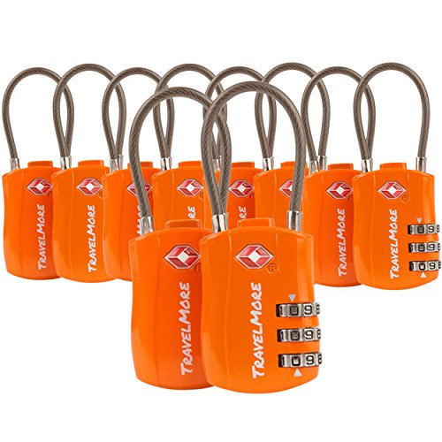 TravelMore 10 Pack TSA Approved Travel Combination Cable Luggage Locks for Suitcases - Orange ()