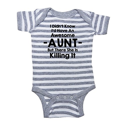 (We Match! Unisex Baby - My Aunt is Killing It Baby Bodysuit (19 Colors Available) (Grey Stripe, 6 Months))