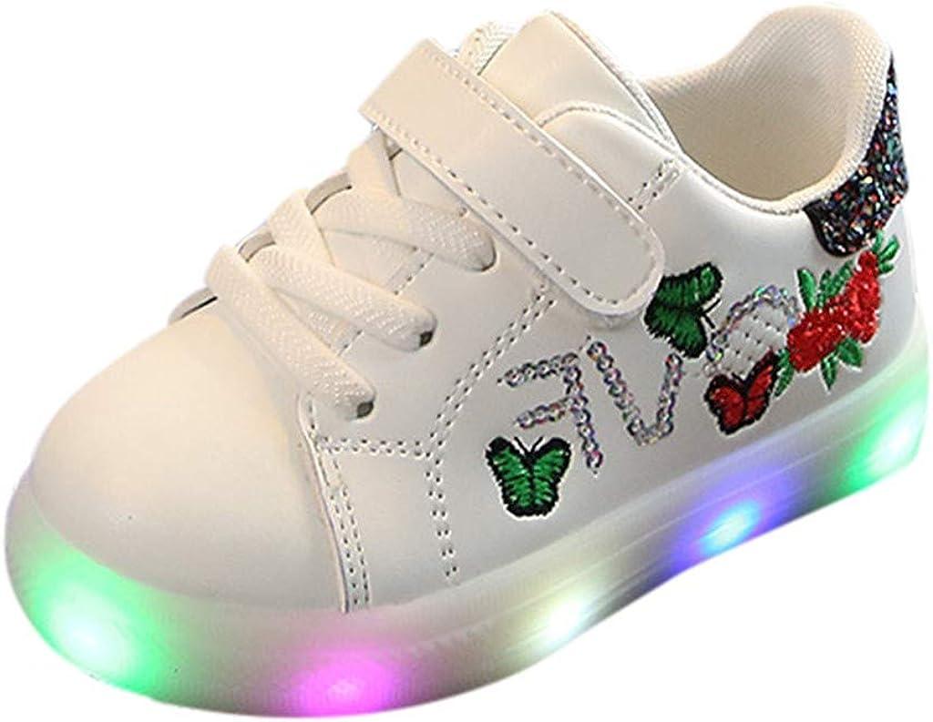 Staresen Toddler B/éb/é Baskets Enfants B/éb/és Filles Gar/çons Sequins Fleur Papillon Chaussures Mode Enfants LED Lumi/ère Lumineuse Sport Chaussures pour 1-6 Ans