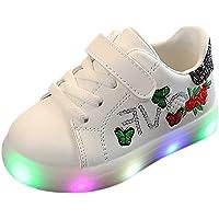 Riou Zapatos LED Niños Niñas Zapatillas Deportivas Unisex Calzado Deportivo Luces Zapatos Iluminados Lentejuelas Bordado…