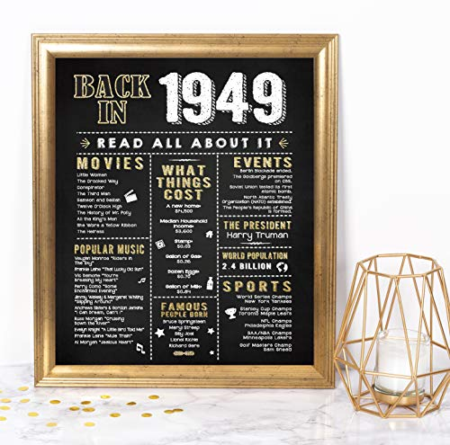 Katie Doodle 70th Birthday Party Supplies Decorations Gifts for Women or Men | Includes 8x10 Back-in-1949 Sign [Unframed], BD070, Black/Gold