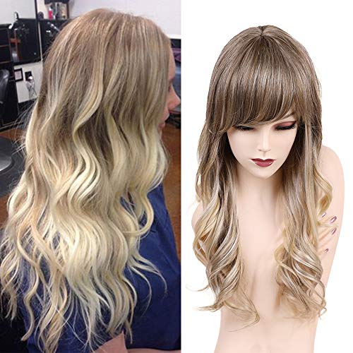 Emmor Blonde Long Wavy Human Hair Wigs for Women Blend With Kanecalon Fiber Ombre Curly Wig with Bangs,Natural Daily Use