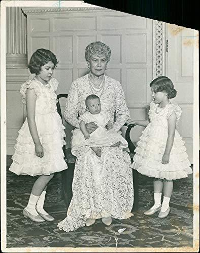 Vintage photo of Queen Mary and her grandchildren.