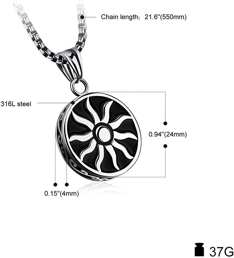 SIMECO JEWELRY Mens Titanium-Steel Apollo Sun-god Helios Retro Pendant Necklace Muslim Islamic Charm Crescent Moon and Star Pendant Necklace 21.6 inch Chain for Gifts