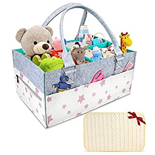 Baby Diaper Caddy -Portable Storage Basket, Diaper Table and car Storage Bag, Ideal for Storing Diapers, Feeding Bottles, Baby Wipes, Toys, Pacifiers