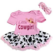 Kirei Sui Baby Little Cowgirl Pink Cow Printed Bodysuit Tutu and Headband