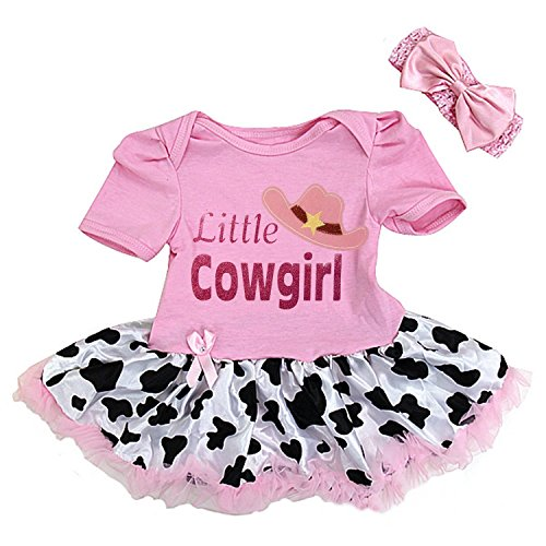 Kirei Sui Baby Little Cowgirl Pink Cow Printed Bodysuit Tutu Small Pink ()