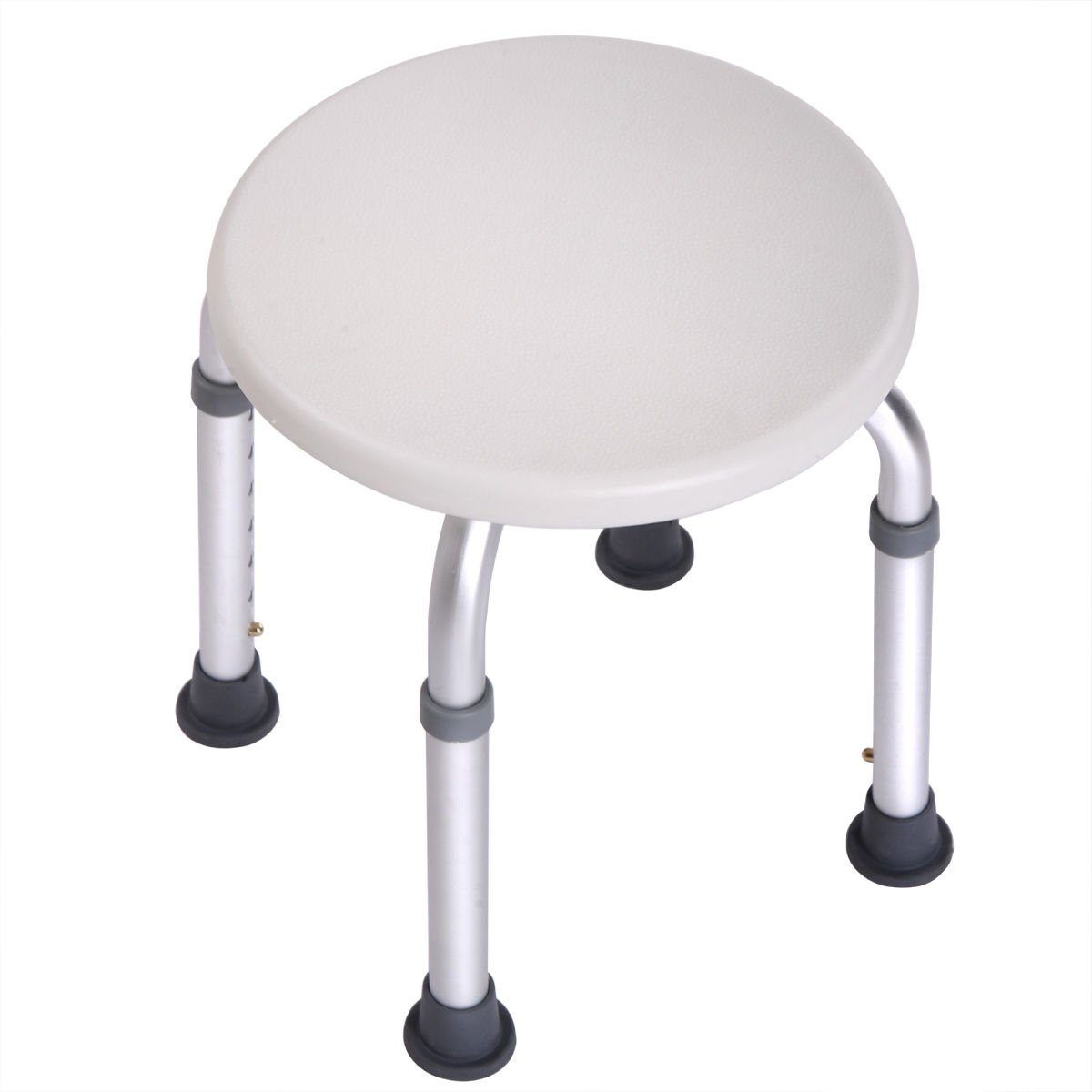 7 Height Adjustable Medical Bath Shower Stool Chair Bath Tub Seat in White New (Round)