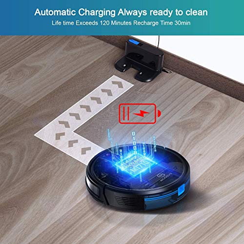 MOOSOO Robot Vacuum, Wi-Fi Connectivity, Easily Connects with Alexa or Google Assistant, Voice Control, Super Thin Robotic Vacuum Cleaner, 120Mins Max Run Time, Automatic Self-Charging Vacuum MT-710