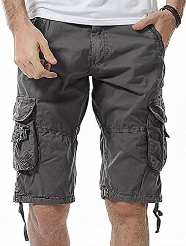 YULEgowinner Mens Outdoor Cargo Multi Pockets Big and Tall Rip Stop Athletic Short