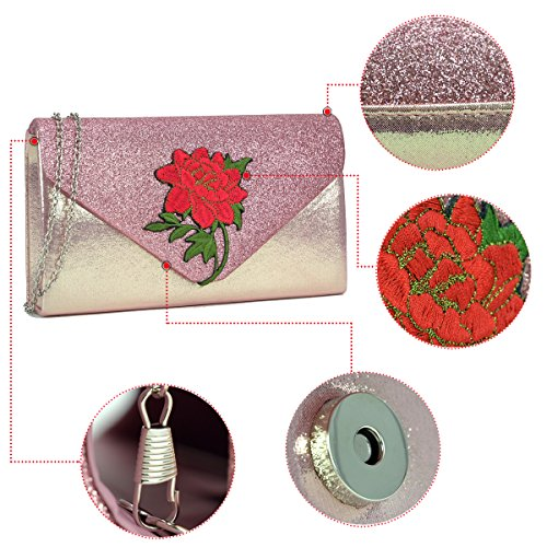Crossbody Purse Bags Women Bags Clutch Evening New Ehd7158 Party DASEIN Flower Prom Handbags Silver Wedding Clutches CwTpHq