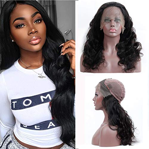130 Density Body Wave Wig Long Curly Lace Front Wigs Human Hair With Baby Hair Pre Plucked Bleached Kont Glueless Wigs For Women Natural Black Wholesale Deals Brazilian Virgin Hair Extensions 20 Inch ()