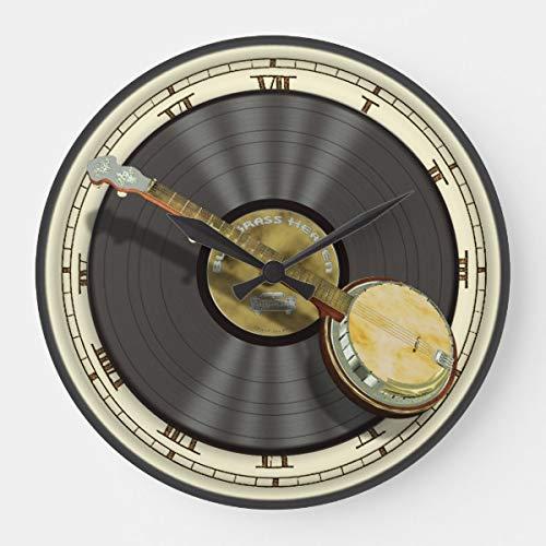 PotteLove Bluegrass Banjo Wall Wooden Decorative Round Wall Clock (Antique Banjo Clock)