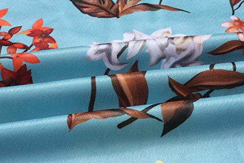 con estampado de el en de manga larga bolsillos Vestido cintur de floral Alaix manga larga con IqUH6wzt6