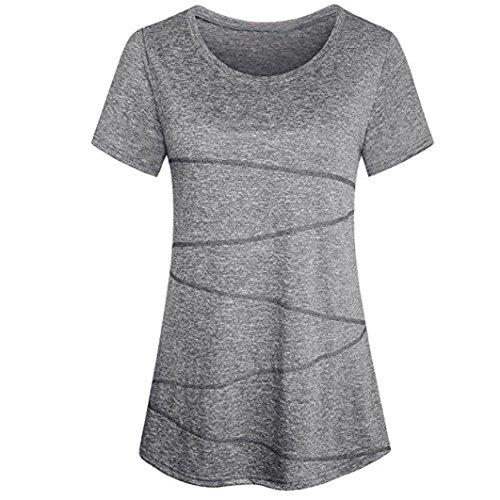 Blusa para Mujer,❤ Modaworld Blusas Mujer Elegantes Fiesta Camiseta de Entrenamiento de Running de Manga Corta con Tops de Yoga Activewear Ropa Deportiva ...