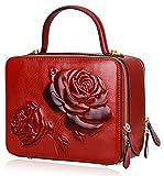 PIJUSHI Women's Designer Rose Top Handle Satchel Cross Body Handbags 65440 (One Size, New Red)