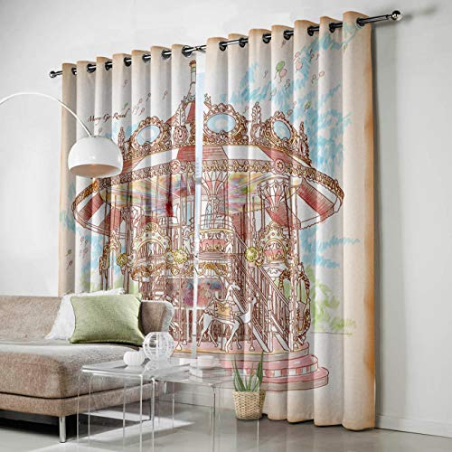 (HomeCreator Window Blackout Curtains Hand-Painted Carousel Window Treatment Darkening Thermal Insulated Curtains for Living Room Bedroom Window Drapes Set of 2 Panels-52 x96 )