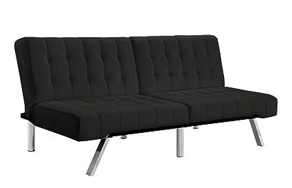 Divano Roma Furniture Modern Convertible Futon Tufted Sofa/Bed, Black
