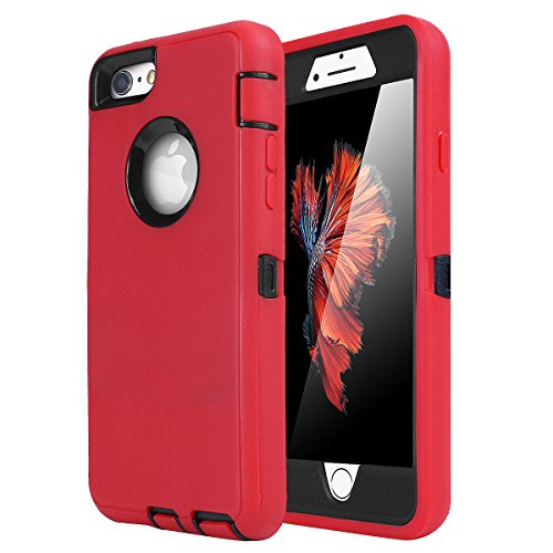 iPhone 6 Plus/6s Plus Case, AICase Built-in Screen Protector Tough 4 in1 Rugged Shorkproof Dustproo Rainproof Cover for iPhone 6 Plus/6S Plus (Black/Red)
