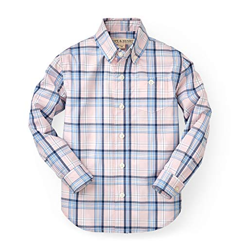 Hope & Henry Boys' Pink and Blue Plaid Woven Poplin Button Down Shirt -