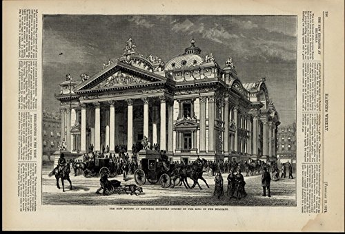 New Bourse Brussels Architecture Columns Ornate 1874 great old print for display