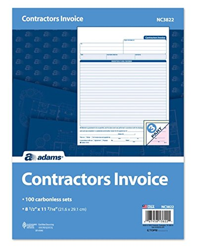 Adams Contractor Invoice Forms, 8.5 x 11.44 Inch, 3-Part, Carbonless, 100-Pack, White, Canary and Pink (NC3822)