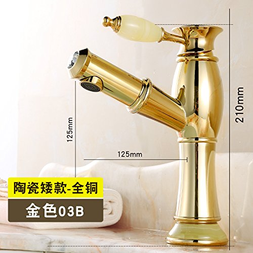 The gold Pull-down Jade Base Low) Hlluya Professional Sink Mixer Tap Kitchen Faucet A full-scale copper basin gold surface basin antique pull faucet hot and cold double sink, antique pink gold pull-down flower ceramic handle high