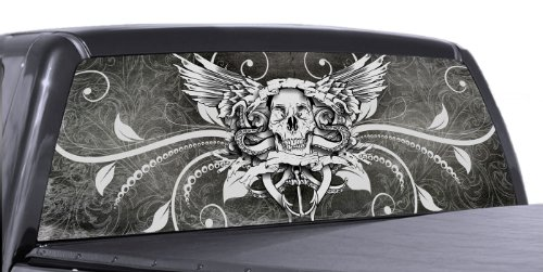 VuScapes - SKULL AND WINGS - Rear Window Truck Graphic - decal suv view thru vinyl