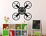 Smiley Symbol Wall Vinyl Decal Air Drone Quadcopter Wall Sticker Aircraft Home Wall Art Decor Ideas Interior Removable Kids Room Design 20(drn)