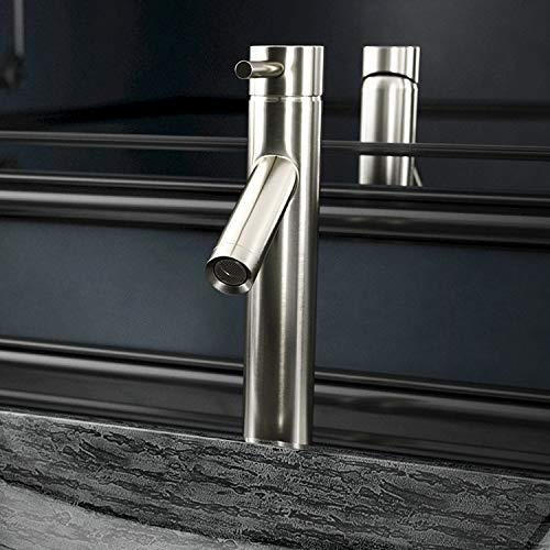 VIGO VG03003BN Dior Single Handle Brushed Nickel Bathroom Faucet, Plated Seven Layer Antique Brass Bathroom Lavatory Vessel Faucet for Vessel Sink