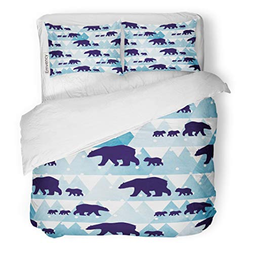 (Tarolo Bedding Duvet Cover Set Animal Cute Winter Polar Bear Mother and Her Child Watercolor Mountains in The Children Pattern Christmas 3 Piece Queen 90