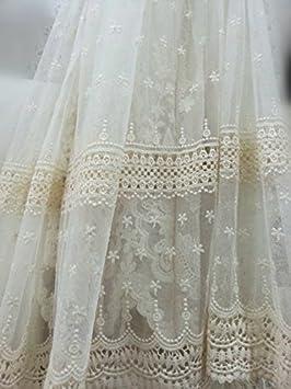 e33392e0a2 1 m marfil tela de encaje bordado de flores Vintage para vestido de novia  de tul con lacearment accesorios niña Wear velo Craft Tela Ancho 51 cm   Amazon.es  ...