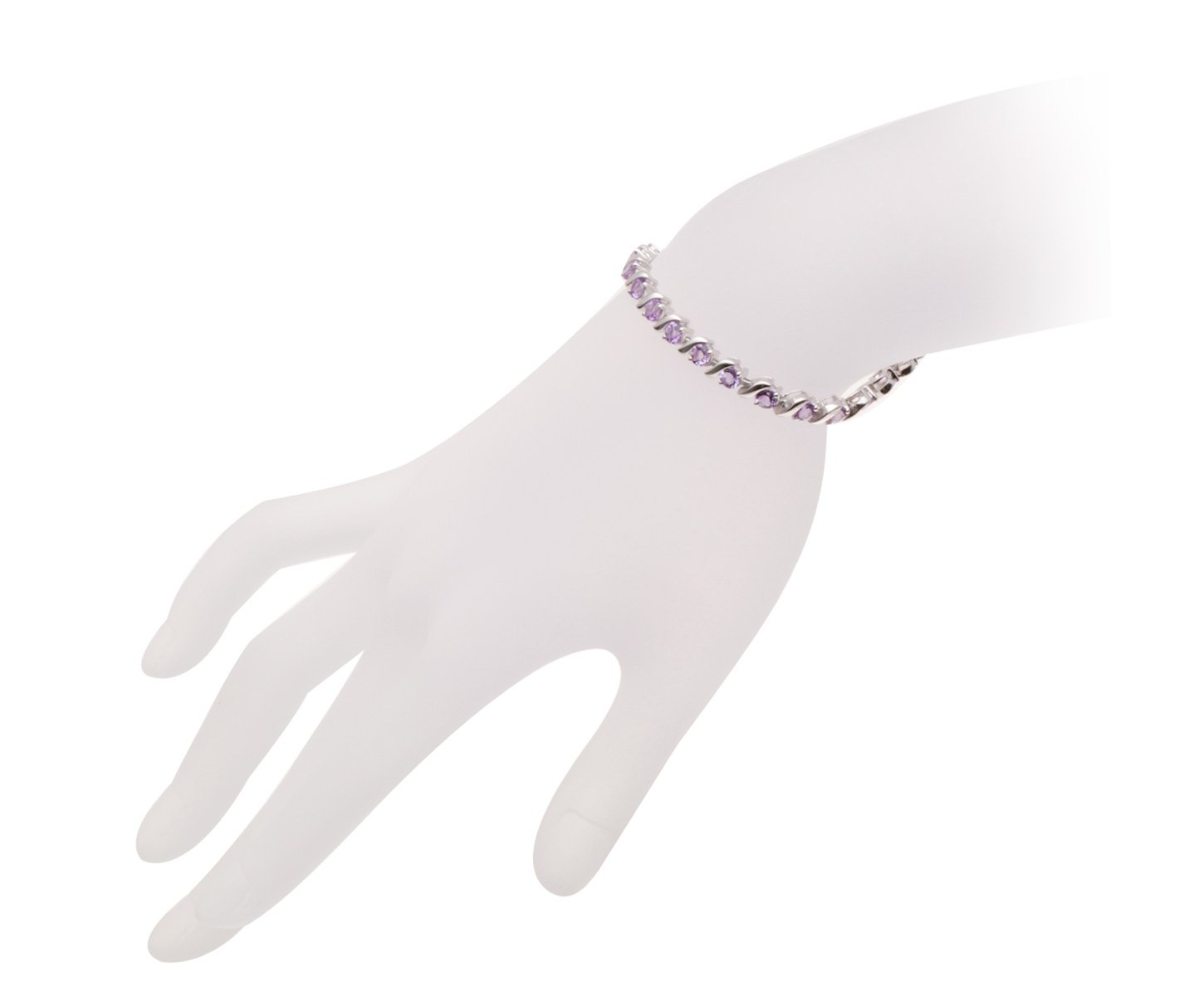 Round 4mm Genuine African Amethyst 6.34 Ct Sterling Silver ''S'' Link Bracelet 7.5 Inches by HUTANG JEWELRY (Image #3)