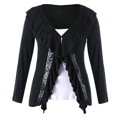 417db74051 Kiminana ❀ Women Plus Size Casual Long Sleeve Lace Splicing V-Neck Blouses  Tops Sweatshirts at Amazon Women's Clothing store: