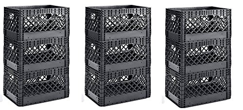 Muscle Rack PMK24QTB-3 24 quart 3 Pack black Heavy Duty Rectangular Stackable Dairy Milk Crates , 11'' Height, 19'' width (3 X 3 Pack) by Muscle Rack