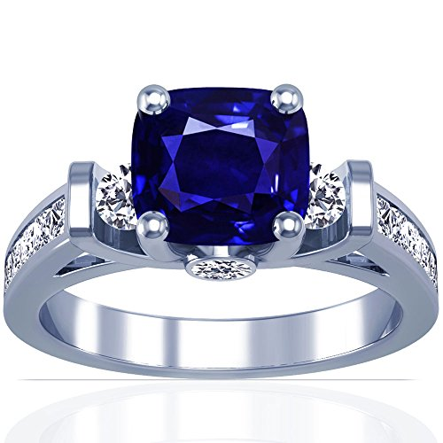 Platinum-Cushion-Cut-Blue-Sapphire-Ring-With-Sidestones-GIA-Certificate