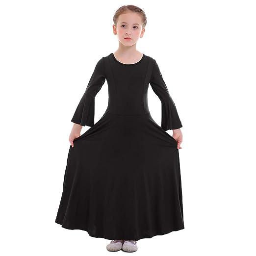 Little Big Girls Bell Sleeve Praise Dance Dresses for Kids Plain Loose Fit  Full Length cfab300d7