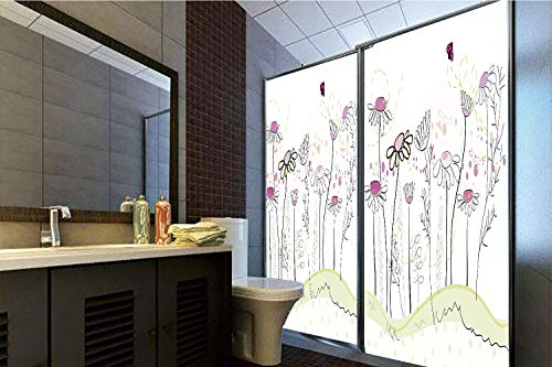 Horrisophie dodo 3D Privacy Window Film No Glue,Nature,Flowerbed with Cute Spring Chamomiles Hand Drawn Girls Ladybug Print,Light Green Fuchsia White,47.24